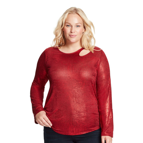 Paparazzi Neckline Cutout Top - Skinnygirl Red Foil (Plus)