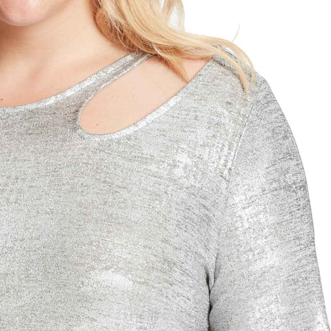 Paparazzi Neckline Cutout Top - Silver Foil (Plus)