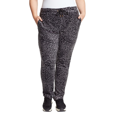 Perfect Printed Velour Pants - Black Leopard (Plus)