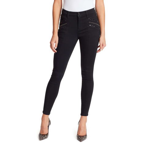 Christina Marie Mid-Rise Moto Skinny Jeans With Chain - Black