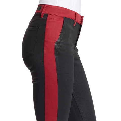 Christina Marie Mid-Rise Skinny Jeans With Biker Red Stripe - Black Rinse