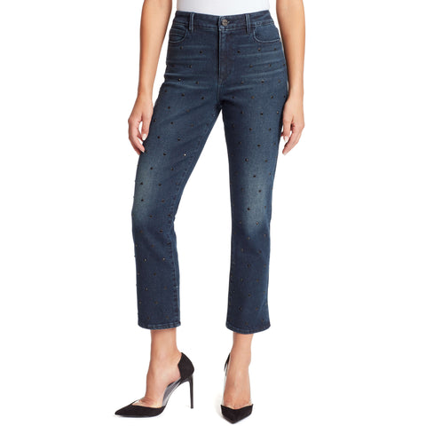 Warren High-Rise Straight Ankle Jeans With Crystals - Winhall