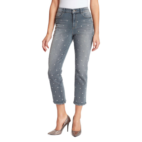Warren High-Rise Straight Ankle Jeans With Crystals - Astor