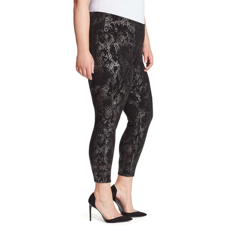 Bailey High-Rise Seamless Pull On Pants - Gunmetal Snake (Plus)