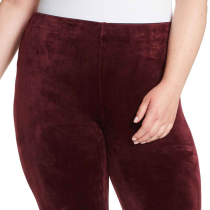 Bailey Mid-Rise Seamless Velour Pull On Pants - Black Cherry (Plus)