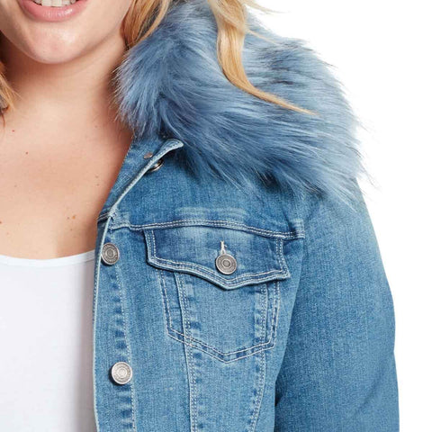 Raina Denim Fur Collar Jacket - Durango (Plus)