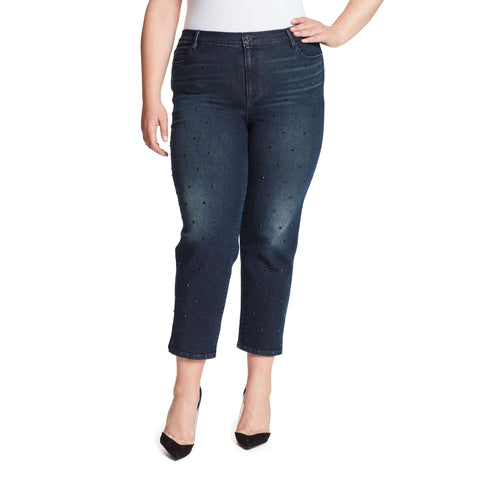 Warren High-Rise Straight Ankle Jeans With Crystals - Winhall (Plus)