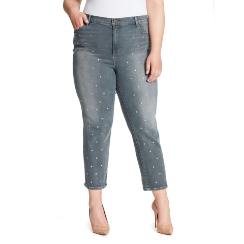 Warren High-Rise Straight Ankle Jeans With Crystals - Astor (Plus)