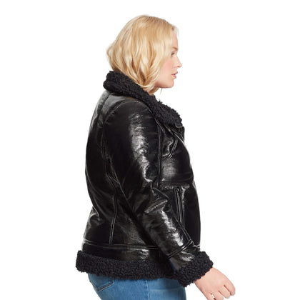 Wheatley Shearling Moto Jacket - Black (Plus)