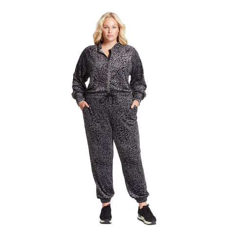 Cabaret Velour Jumpsuit - Black Leopard (Plus)
