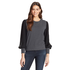 Crissy Pullover Top - Charcoal Grey