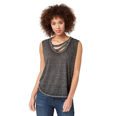 Willow Tank Top with Round Hem - Black