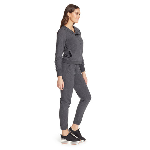 Courtney Moto Knit Hooded Jacket - Charcoal Grey