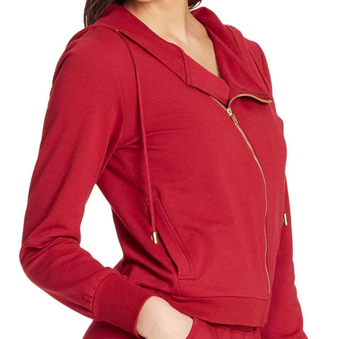 Courtney Moto Knit Hooded Jacket - Biking Red