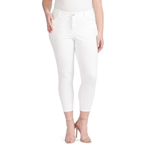 Mid-Rise Skinny Crop Jeans - White (Plus)