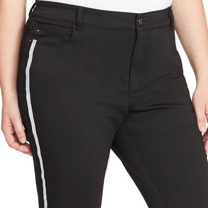 Mid-Rise Skinny Jeans White Stripe - Black Rinse (Plus)
