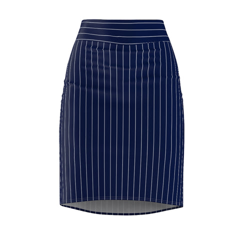 Women's Navy Pinstriped Stretch Pencil Skirt