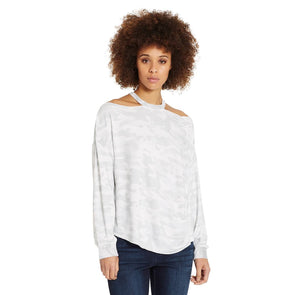 Rib Neck French Terry Top - White Camo