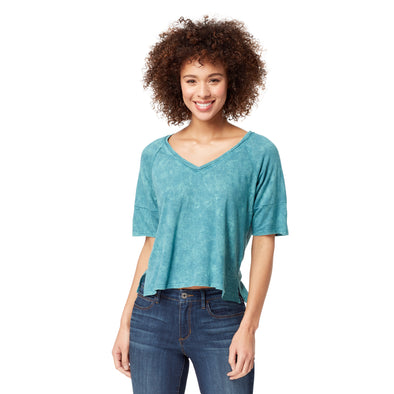 Emerald Zipper Back Washed Slub Jersey - Meadowbrook