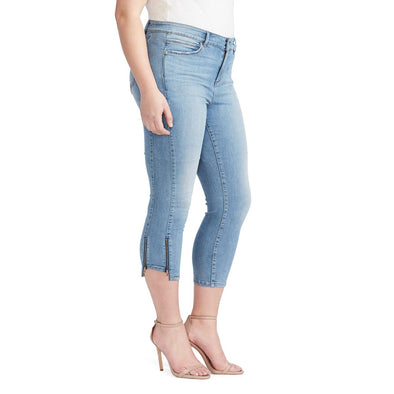 Mid-Rise Skinny Crop Jeans with Zip Bottom Hem - Melborne (Plus)