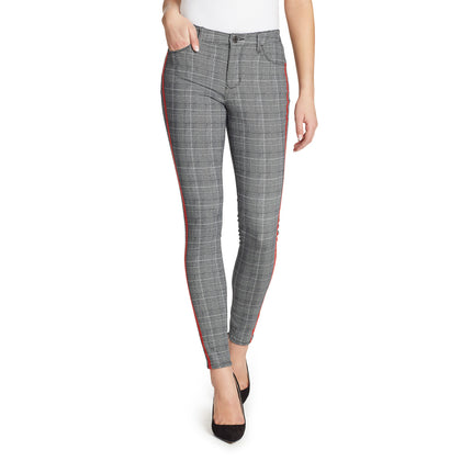 Mid-Rise Skinny Jeans Red Stripe - Sky Plaid