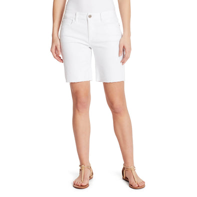 Mid-Rise Long Shorts with Frayed Hem - White (FINAL SALE)