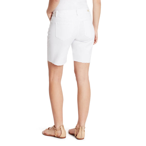 Mid-Rise Long Shorts with Frayed Hem - White
