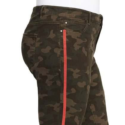Mid-Rise Skinny Jeans Red Stripe - Olive Night Camo (Plus)