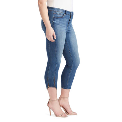 Mid-Rise Skinny Crop Jeans with Zip Bottom Hem - Adelaide (Plus) (FINAL SALE)