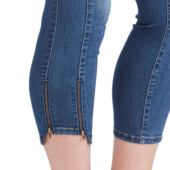 Mid-Rise Skinny Crop Jeans with Zip Bottom Hem - Adelaide (Plus)
