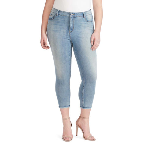 High-Rise Skinny Crop Jeans with Raw Edge Hem - Melborne (Plus)