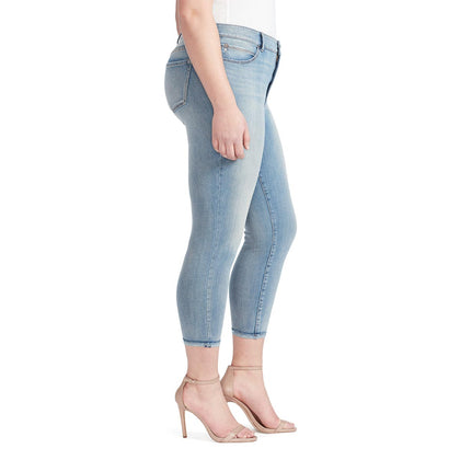 High-Rise Skinny Crop Jeans with Raw Edge Hem - Melborne (Plus) (FINAL SALE)