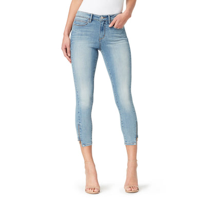 Mid-Rise Skinny Crop Jeans with Zip Bottom Hem - Melborne