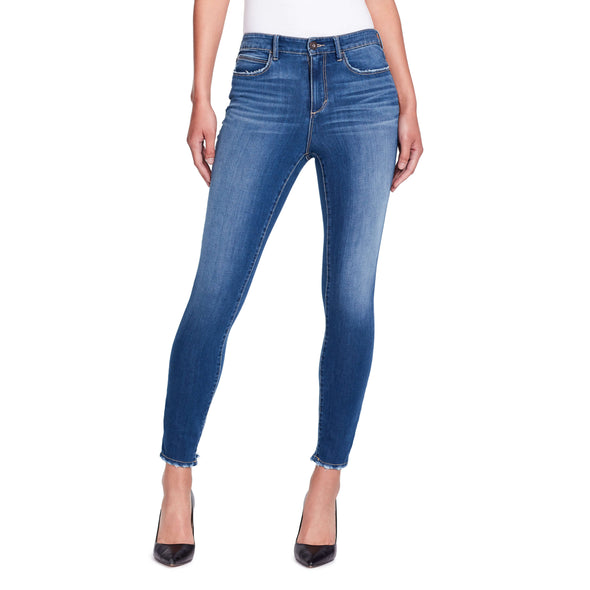 High-rise Skinny Ankle Jeans Back Hem Detail - Delancey -front view