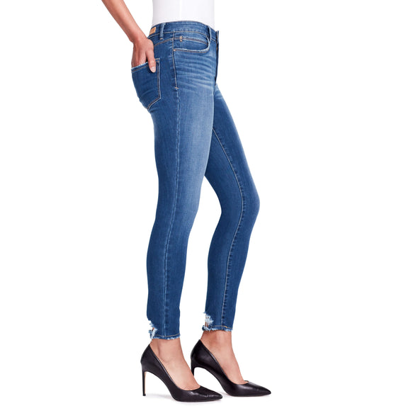 High-rise Skinny Ankle Jeans Back Hem Detail - Delancey - side view
