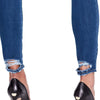 High-rise Skinny Ankle Jeans Back Hem Detail  - Delancey