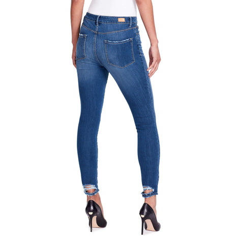 High-rise Skinny Ankle Jeans Back Hem Detail - Delancey - back view showing destroyed hem