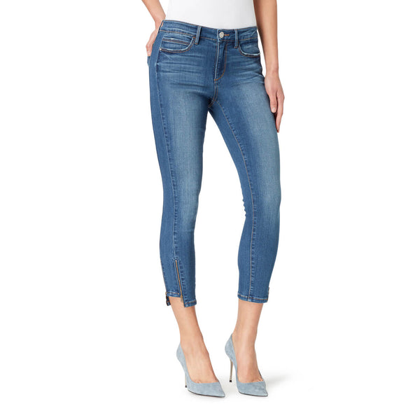 Mid-Rise Skinny Crop Jeans with Zip Bottom Hem - Adelaide