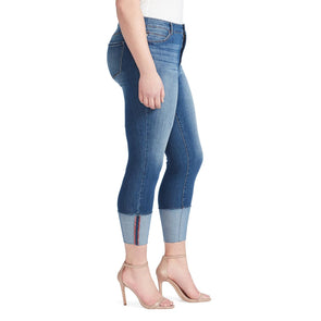 High-Rise Skinny Crop Jeans with Wide Cuff - Adelaide (Plus)
