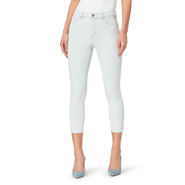 High-Rise Skinny Crop Jeans with Raw Edge Hem - Pymmes