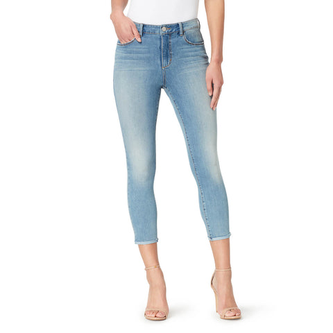 High-Rise Skinny Crop Jeans with Raw Edge Hem - Melborne