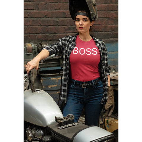 Empowered woman wearing red boss t-shirt
