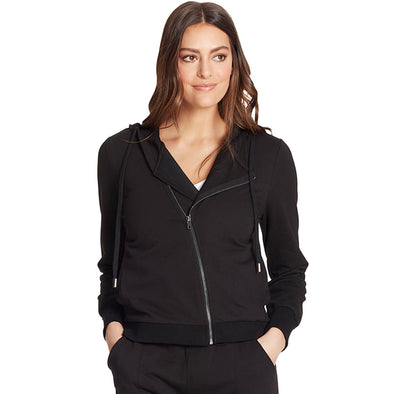 Courtney Moto Knit Hooded Jacket - Black