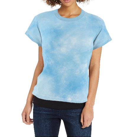 Women's Light Blue Tie Dye Print Tee
