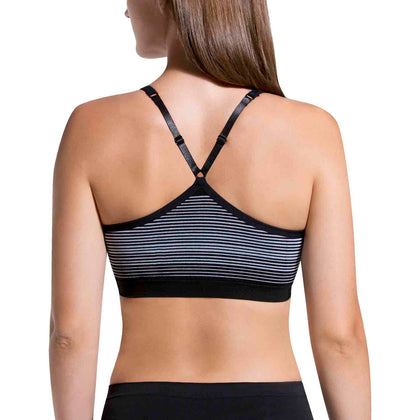 Seamless Lounge Bra 2 Pack - Black Grey Stripe & Heather Grey