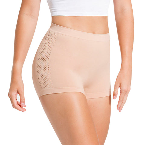 Seamless Shapewear With Mesh Detail Boyshort Panty - 3 Pack