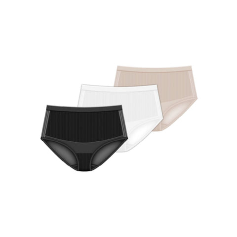 Seamless Shapewear With Mesh Detail Brief Panty - 3 Pack