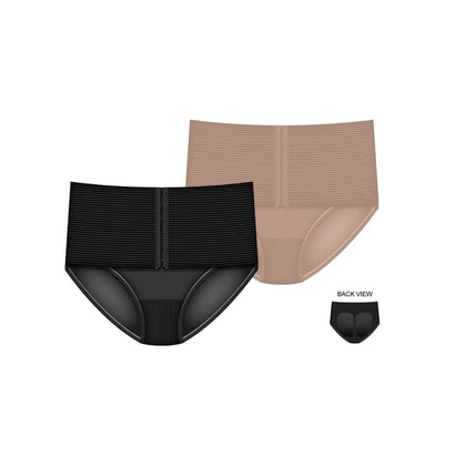High Waist Hook and Eye Corset Brief Panty - 2 Pack