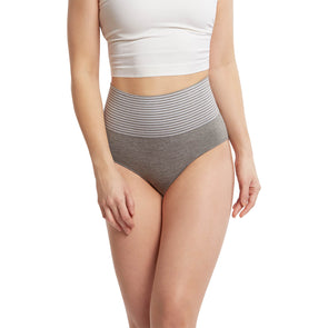 Seamless Shapewear Tall Brief Panty With Striped Band - 2 Pack
