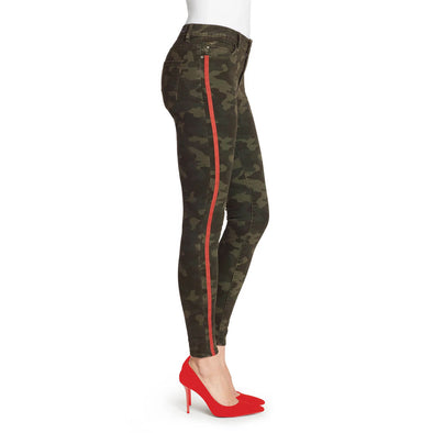 Mid-Rise Skinny Jeans Red Stripe - Olive Night Camo